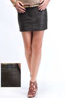 Юбка мини с принтом под кожу питона VIAGGIO со скидкой