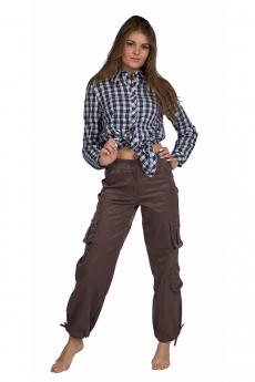 Коричневые женские брюки карго Милана