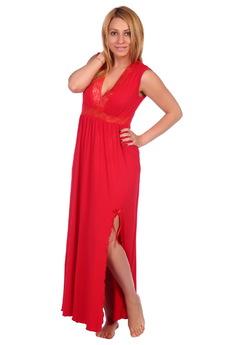 Красная длинная ночная сорочка ElenaTex со скидкой