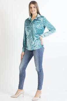 Бирюзовая бархатная рубашка Bast со скидкой