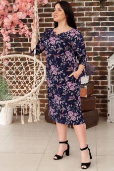 Темно-синее платье с карманами ИвРосТекстиль